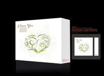 清新时尚绿色幸福爱心礼盒