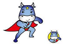 原创卡通吉祥物形象帅气超人牛 适用于家电洗护行业品牌