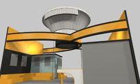 黄色个性造型展厅装修设计3D模型