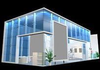 蓝色玻璃造型展厅装修设计3D模型素材