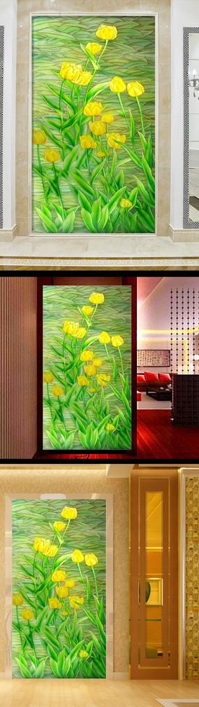綠色清新花朵玄關電視沙發瓷磚背景墻