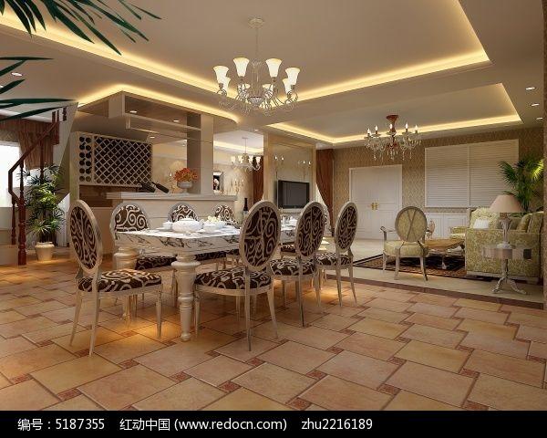 欧式别墅开放式厨房餐厅装修3D设计模型图片