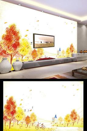 手绘秋天的童话背景墙装饰画