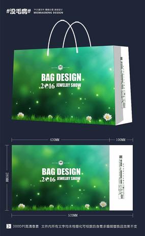 清新唯美花朵绿色手提袋