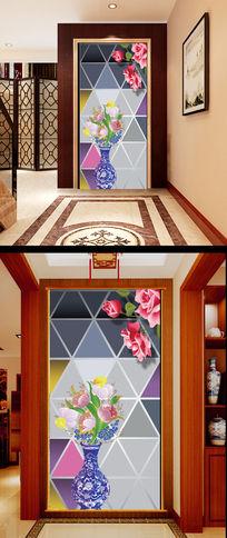 3D玻璃背景墙花瓶玫瑰花玄关