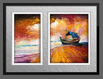 高清海边风景油画