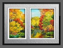 高清森林风景油画