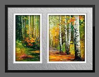 高清树林风景油画
