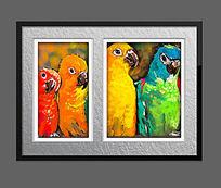 高清鹦鹉油画