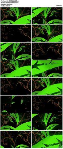 綠色矢量圖花藤花邊花紋循環播放高清視頻舞蹈模特素材
