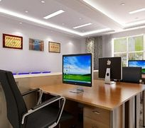 实木原木办公桌办公室3D模型
