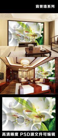 3D立体圆圈绿叶植物室内电视背景墙装饰画
