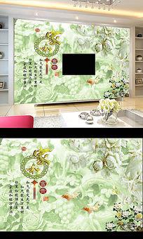 高清玉雕何兰花电视背景墙壁画
