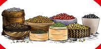 五谷杂粮原创手绘商业食品插画