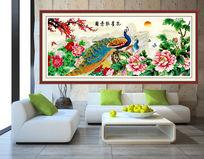 孔雀牡丹图室内装饰画