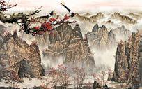 山水风景水墨画背景画