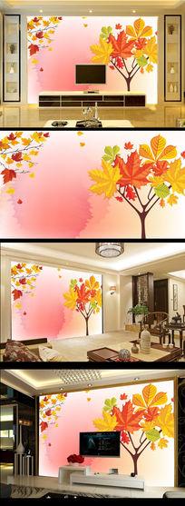 树叶黄叶红叶电视背景墙