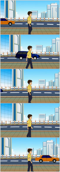 卡通楼房男孩漫步动态视频背景素材