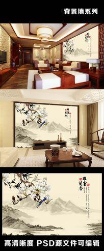 中国风水墨山水画兰花背景墙