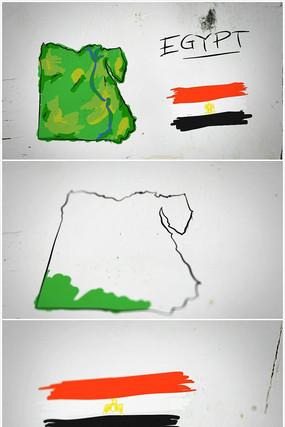 埃及手绘涂鸦地图视频素材