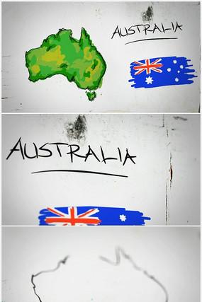 澳大利亚手绘涂鸦地图视频素材