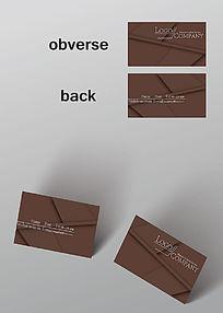 角对称简约单色名片模板
