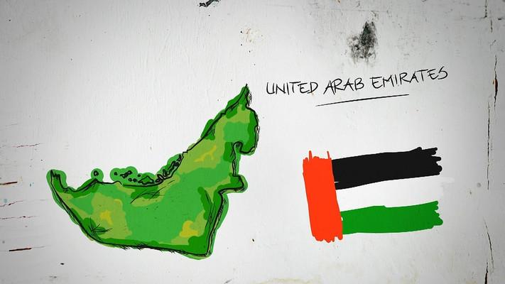阿拉伯联合酋长国手绘涂鸦地图视频素材