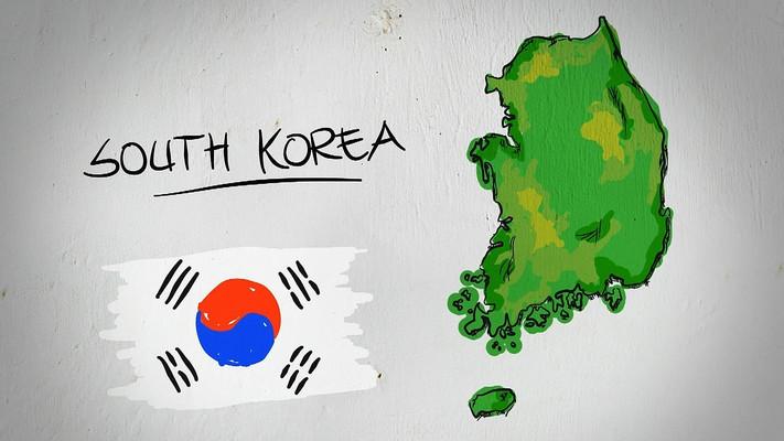韩国手绘涂鸦地图视频素材