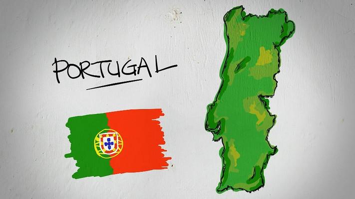 葡萄牙手绘涂鸦地图视频素材