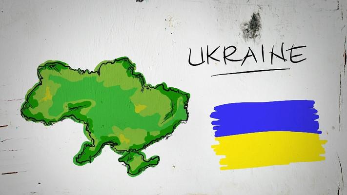 乌克兰手绘涂鸦地图视频素材