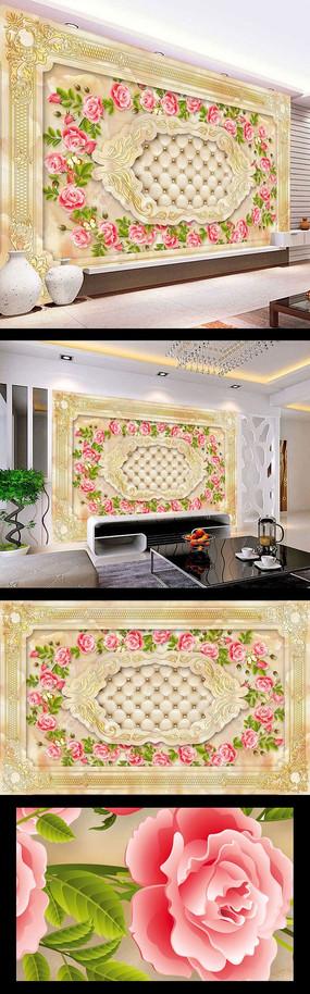 3d大理石玫瑰花壁画设计