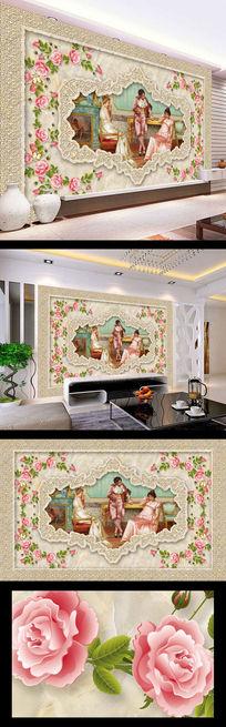 贵族美女油画大理石背景墙