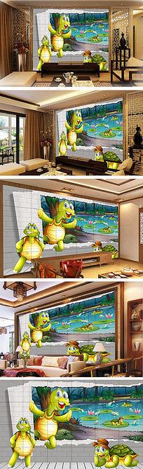 卡通动物海龟儿童房背景墙装饰画