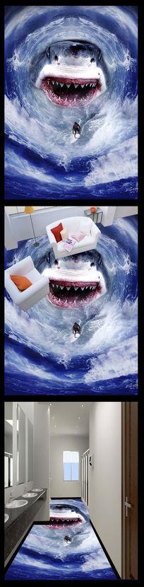 恐怖鲨鱼3D地贴