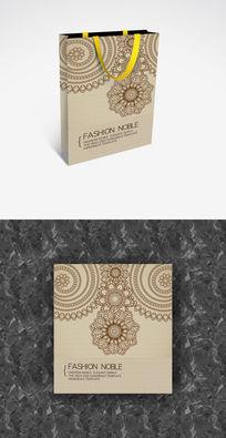 浅色花纹简洁单色手提袋设计