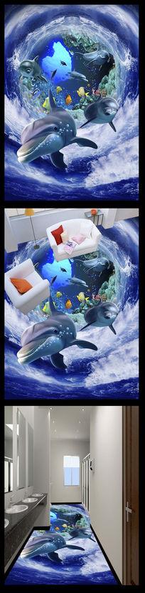 蔚蓝海底世界3D地贴