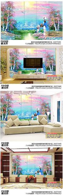 创意手绘油画电视背景墙高清图下载