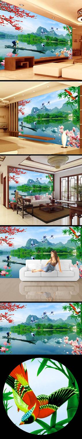 江南风光风景画背景电视墙