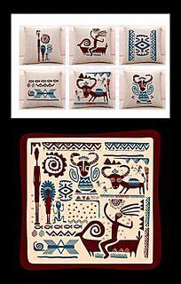 家纺抱枕印花民族图案