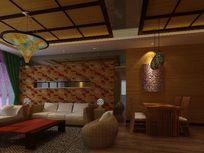 东南亚风格客厅沙发背景墙3D模型