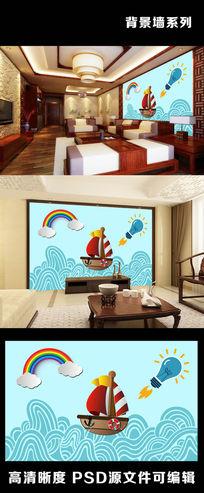 卡通动画儿童背景墙