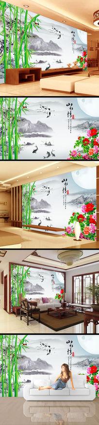 竹子山水水墨画背景电视墙