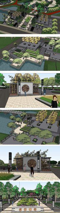 中式公园景观建筑草图大师SU模型
