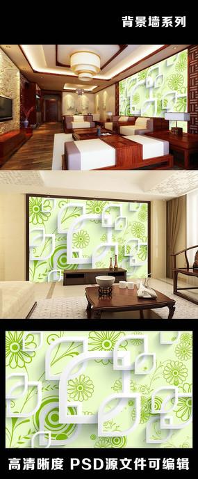 3d立体花朵绿色环保清新简约背景墙
