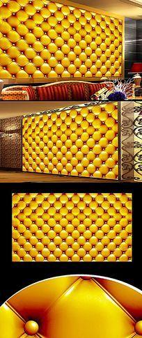 黄色皮革软包背景墙