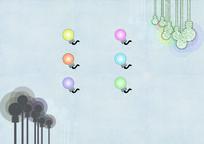 节能环保灯泡背景图片和灯泡小图标