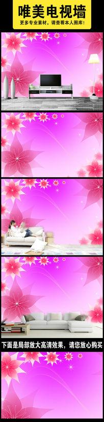 手绘简约温馨小花立体电视背景墙壁画