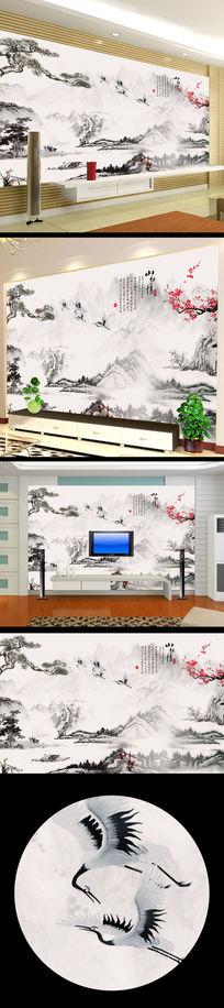 中式国画水墨画背景墙设计