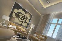 高级时尚客厅沙发背景3D效果素材资料