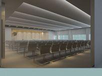 现代简约风格大型会议室布置3D模型素材资料